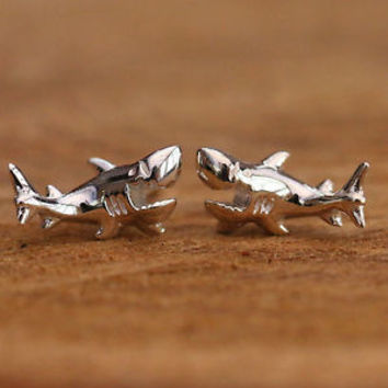 925 Sterling Silver Stud Studs Earrings 3D Shark Handcraft Jewellery w Gift Box