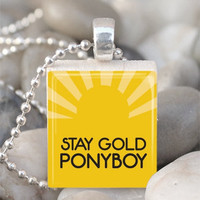 Stay Gold Ponyboy The Outsiders Necklace Scrabble Tile Pendant