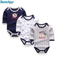 3 Pcs Baby Rompers Long Sleeve Cotton Baby Clothing Overalls for Newborns Baby Boy Girl Clothes Cartoon Bear Infantil Jumpsuit