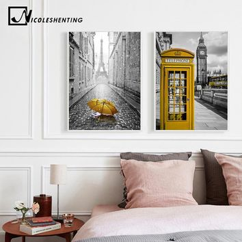 London Big Ben Clock Tower Telephone Box Cityscape Poster Print Wall Art Canvas Painting Black White Picture Modern Home Decor