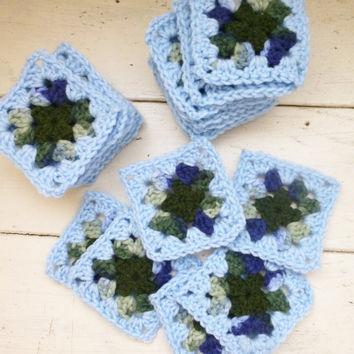 Crochet Granny Square, blue squares, crochet afghan squares, ready to ship, hand crochet, granny squares for sale, fall colors