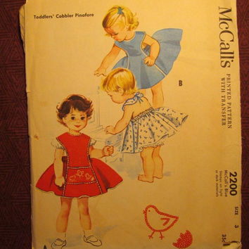 SALE Complete 1950's McCall's Sewing Pattern, 2200! Size 3 Toddler/Girls/Kids/Child/Cobbler Pinafore Dress/Play Suit/Full Flared Skirt/Bib T