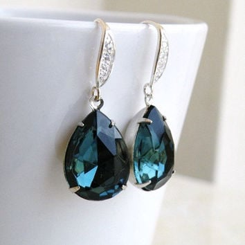 Sapphire Jewelry Wedding Jewelry Bridal Earrings Montana Navy Blue Teardrop Stone Silver CZ Hook Earrings Estate Style