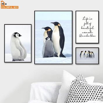 COLORFULBOY Penguin Family Quotes Canvas Art Print Wall Painting Animal Posters And Prints Pop Art Wall Pictures For Living Room