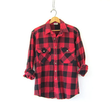 Vintage boyfriend flannel / red and black Plaid Hunting Shirt / Long Sleeve Buffalo Check cotton Hipster Rustic Work chore shirt