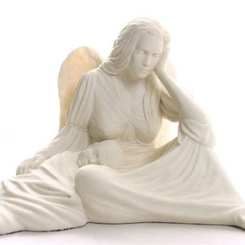 Seated Angel Cradling Baby New Mother Guardian Angel Statue 12.5W