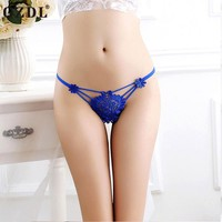 Floral Hollow Bandage Breathable Low-waist G-string Thong Panties