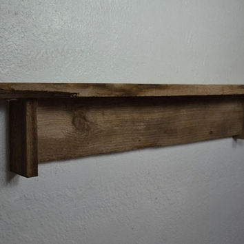 "Very rustic reclaimed wood wall shelf 28"" wide"