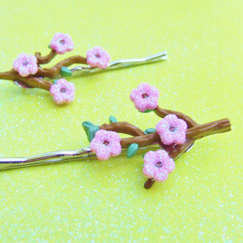 Cherry Blossom Bobby Pins - Pink Glitter Flower Bobby Pins - Branch of Flowers - Bobby Pin Hair Clip - Hair Accessories - Hair Accessory