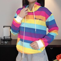 """Champion"" Women Casual Personality Multicolor Rainbow Stripe Long Sleeve Hoodie Sweater Tops"