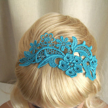 Phalenopsis turquoise lace crystal headband by StitchFromTheHeart