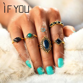 IF YOU Antique Tibetan Mixed Green Stone Carved Knuckle Midi Ring Set For Women Beach Turkish Retro Rings Jewelry Gift 5PCs/Set