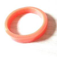 Orange bangle, small resin bracelet bangle jewelry , resin bangle,  petite bangle, coral red bracelet, kids jewelry , small jewelry