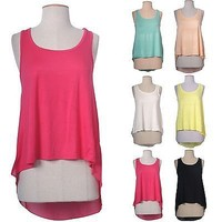 Solid & Sheer Chiffon Back Sleeveless Hi-Low Hem Tunic Crop Tank Top Shirt