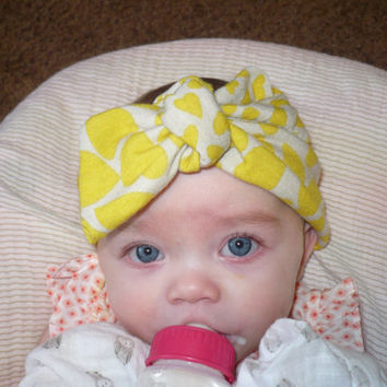 Baby Headwrap Baby Headband Top Knot Headband Women Head Wrap Children Headwraps Baby Bandana Hearts Yellow Headband Goodtreasures123