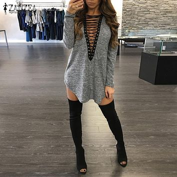 Bandage Lace Up V Neck Long Loose Casual Mini Dress