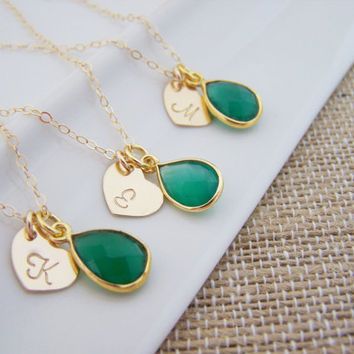 Personalized Green Onyx Necklace - Custom Initial - 14k Gold Filled Monogram - Gold Necklace - Heart Charm - Bridesmaid Necklace - Gift Idea