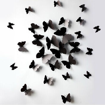 ( 12 pcs / pack ) 3D wall stickers butterfly fridge magnet wedding decoration home decor in black = 5987843073