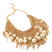 FOREVER 21 Faux Pearl Statement Necklace Gold/Cream One