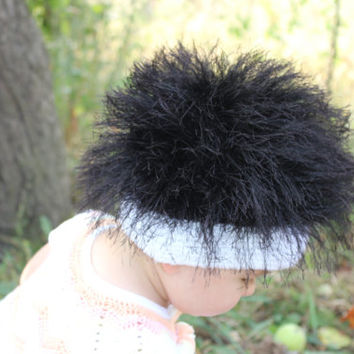 Baby hats / Cabbage Patch Kids Hat  / Beanie Wig  / Children  fuzzy hat  / Baby costume / Halloween Costume / Black