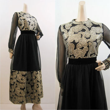 60s 70s Dress Vintage Paisley Chiffon Gold Black Midi Cocktail Party M