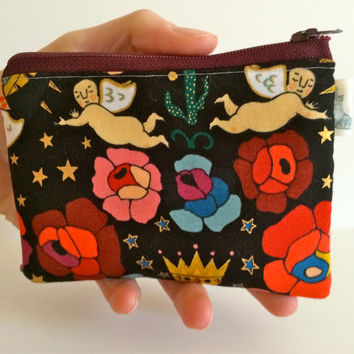 Coin Purse Coin Bag Small Cosmetic Clutch in Folk Art