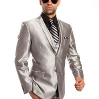 Men's Silver Three-Piece Shiny Vested Suit