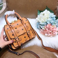 MCM Women Shopping Leather Tote Handbag Shoulder Bag Purse
