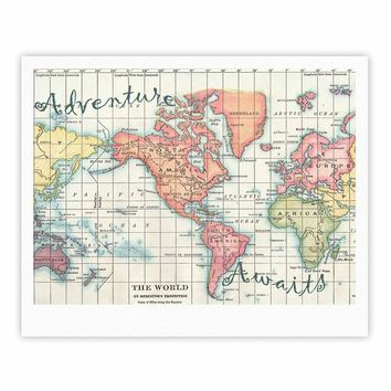 "Catherine Holcombe ""Adventure Awaits World Map"" Beige Pink Mixed Media Vintage Travel Fine Art Gallery Print"