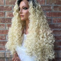 RAVEN Curly Root Lightest Platnium Blonde Human Hair Blend Swiss Lace Wig 30'