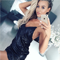 Sequins deep V backless zipper dress