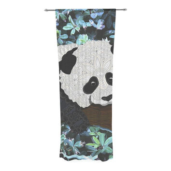 "Art Love Passion ""Panda"" Black White Decorative Sheer Curtain"