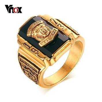 Vnox Men's Rock Punk Ring Gold-color Large Black CZ Stone Ring Men Jewelry Cool Lion Head School Party Rings