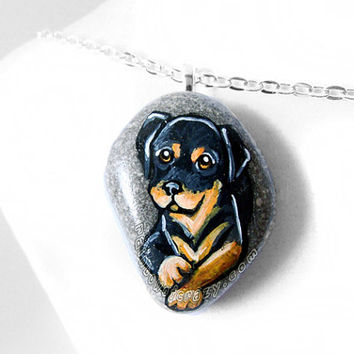 Rottweiler Pendant, Dog Necklace, Pet Memorial Jewelry, Animal Art Painting, Pet Loss, Hand Painted Stone, Beach Rock, Gift For Her