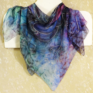 Original hand-painted silk square scarf  Marble Mosaic. Watercolor Head Neck Chiffon Shawl. Emerald Violet Blue Pink. Ready .70x70cm 28x28""