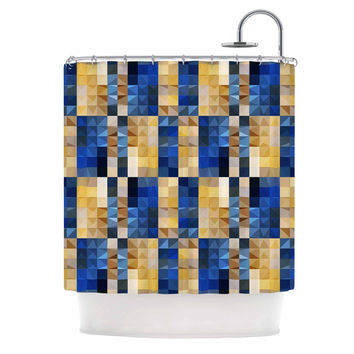 "Dawid Roc ""New Stripes Mosaic"" Blue Gold Shower Curtain"