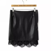 PU Leather Skirts Slim Fit Mini Sexy Saias Femininas Pencil Skirt Women Lace Patchwork Stretchy Wrap Skirts Black 2015 Fashion