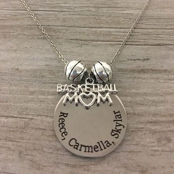 Personalized Basketball Mom Charm Necklace