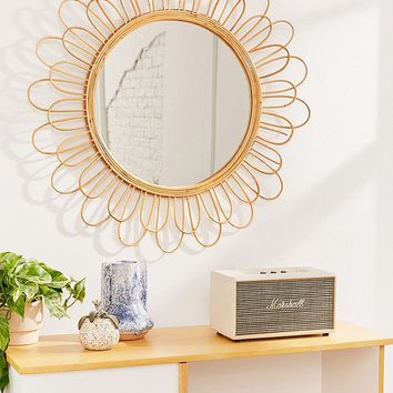 Raquel Rattan Sunflower Mirror | Urban Outfitters