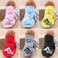 Adidas Dog Hoodie All Seasons Party Costume Soft Uniform Coat Clothes Hoodie For Pet Dog Puppy Cats HOT Cute Apparel FREE SHIPPING _ 5723