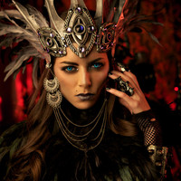 Vampire / Dark Faerie Queen Headdress - Leather, Feathers, Crystals and Chains
