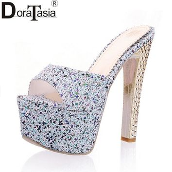 DoraTasia  High Quality 2018 Large Size 33-40 Sexy mules pumps Women Shoes Fashion Red Spike Super High Heels Platform