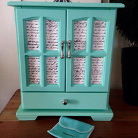 Hand Painted Jewelry Box Tiffany Inspired Decoupaged in French Script