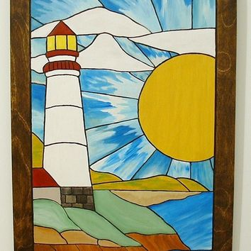 Lighthouse, Wood Wall Art, Sunshine on the Beach