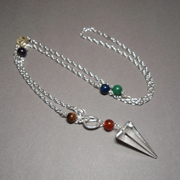Clear Quartz Crystal and Chakra Gemstones Divining Pendulum Sterling Silver Toggle Clasp Necklace