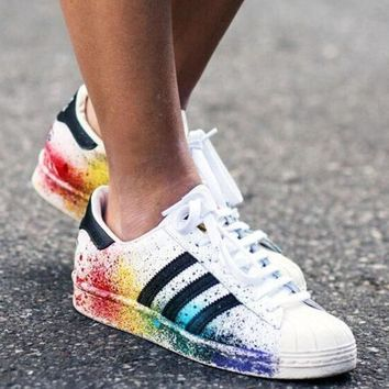 Adidas Fashion Multicolor Inkjet Flats Sneakers Sport Shoes