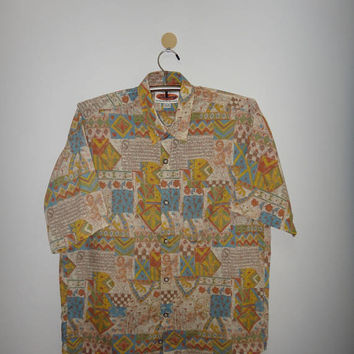 Vintage Duchamp Original Australian Clothing Hawaii Style All Over Print Pop Art Shirt Button Down Mens Casual Clothing