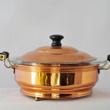 Pyrex Casserole with Coppercraft Guild Copper Stand Vintage 1970s
