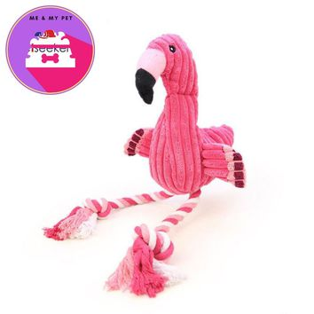 Pink Flamingo Shape Pet Dogs Toy Interactive Plush Velvet Pet Puppy Chew Squeaky Sound Toys with Cotton Rope