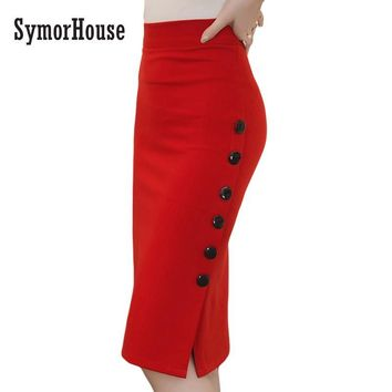 SymorHouse Plus Size New Fashion  Women Skirt Midi Skirt Slim OL Sexy Open Slit Button Slim Pencil Skirt Elegant Ladies Skirts